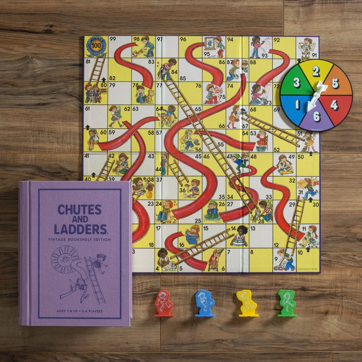 Chutes and Ladders Vintage Bookshelf Edition Deluxe Linen Book Board Game New
